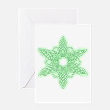 Green Glow Snowflake Greeting Cards