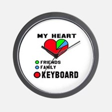 My Heart Friends Family and Keyboard Wall Clock