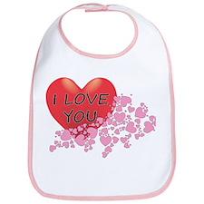I Love You Hearts Bib