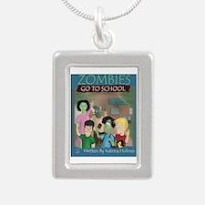 Zombies Go To School Silver Portrait Necklace