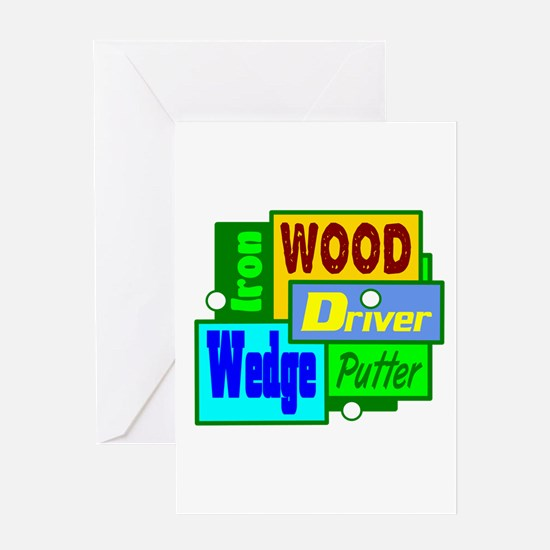 Golf Clubs Design Greeting Cards