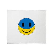 Funny Ukrainian Smiley Face Throw Blanket