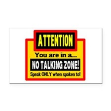 No Talking Zone Rectangle Car Magnet