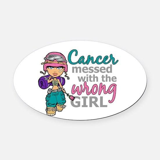 Combat Girl Thyroid Cancer Oval Car Magnet