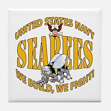 USN Seabees Bee Eagle 2 Tile Coaster