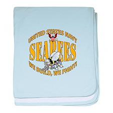 USN Seabees Bee Eagle 2 baby blanket