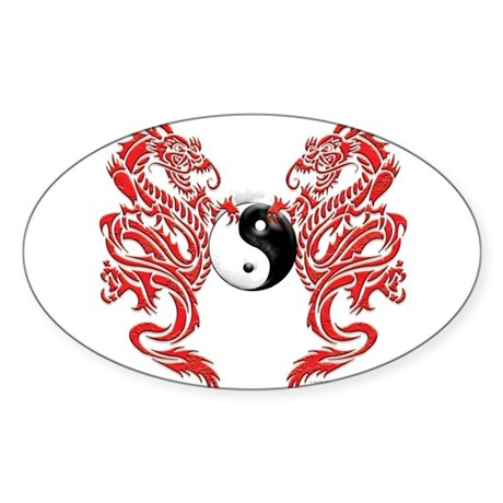 Yin Yang Dragons Rectangle Sticker