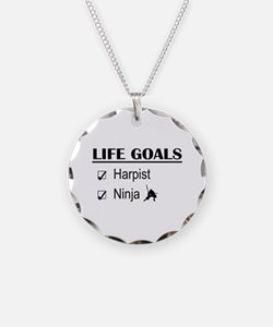 Harpist Ninja Life Goals Necklace Circle Charm