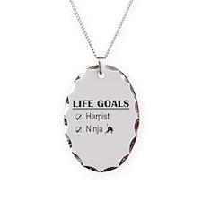Harpist Ninja Life Goals Necklace Oval Charm