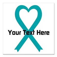 Personalized Teal Ribbon Heart Square Car Magnet 3