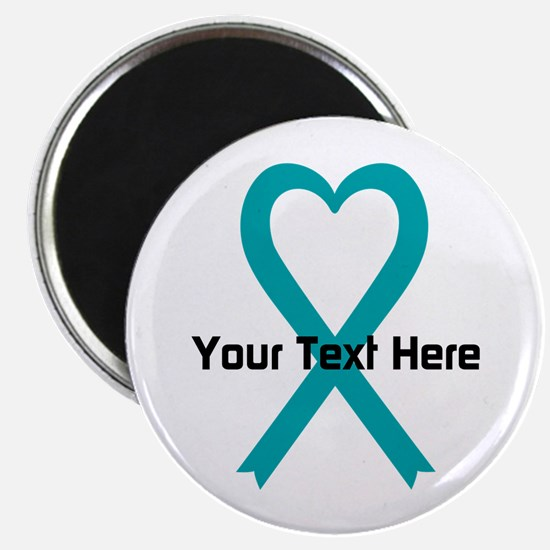 Personalized Teal Ribbon Heart Magnets
