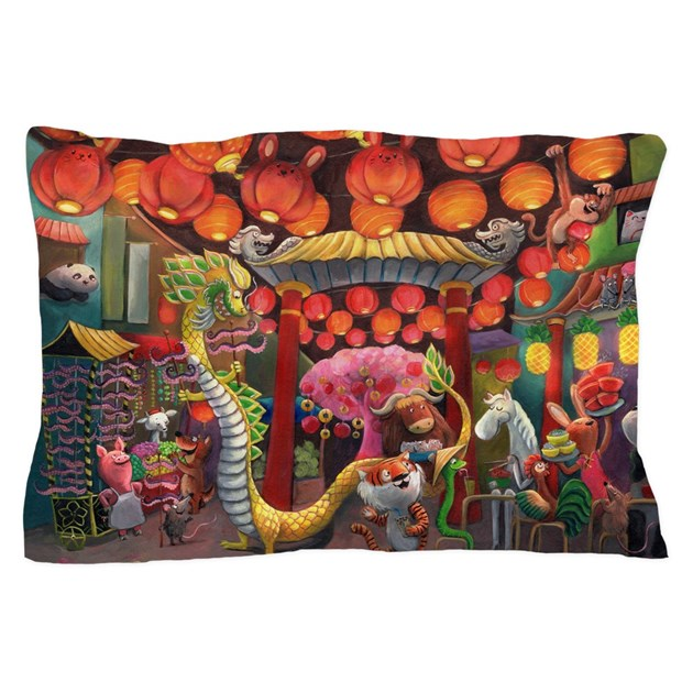 Animals of China Town Pillow Case by madamecolonelle