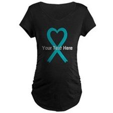 Personalized Teal Ribbon Heart Maternity T-Shirt