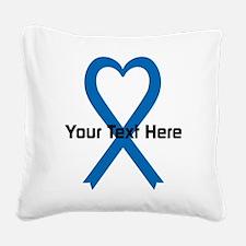 Personalized Blue Ribbon Hear Square Canvas Pillow