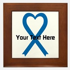 Personalized Blue Ribbon Heart Framed Tile