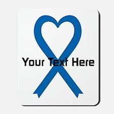 Personalized Blue Ribbon Heart Mousepad