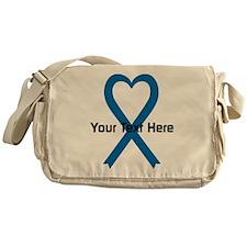Personalized Blue Ribbon Heart Messenger Bag