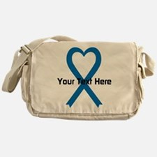 Personalized Blue Ribbon Heart Messenger Bag
