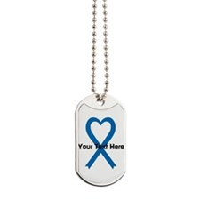 Personalized Blue Ribbon Heart Dog Tags