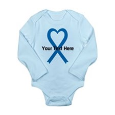 Personalized Blue Ribb Long Sleeve Infant Bodysuit