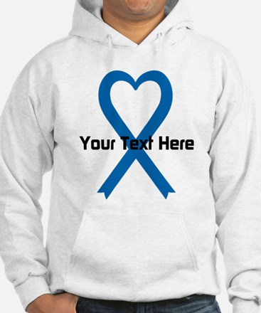 Personalized Blue Ribbon Heart Hoodie