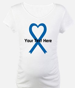 Personalized Blue Ribbon Heart Shirt