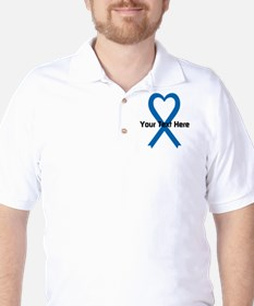 Personalized Blue Ribbon Heart T-Shirt