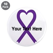 "Personalized Purple Ribbon H 3.5"" Button (10 pack)"