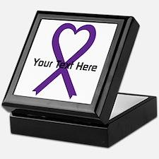 Personalized Purple Ribbon Heart Keepsake Box