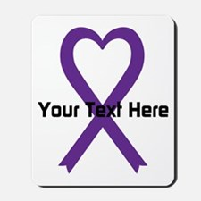 Personalized Purple Ribbon Heart Mousepad