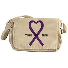 Personalized Purple Ribbon Heart Messenger Bag