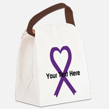 Personalized Purple Ribbon Heart Canvas Lunch Bag