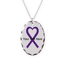 Personalized Purple Ribbon Hea Necklace