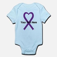 Personalized Purple Ribbon Heart Infant Bodysuit
