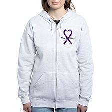 Personalized Purple Ribbon Hear Zip Hoodie
