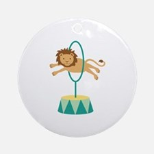 Circus Lion Jumping Hoop Ornament (Round)