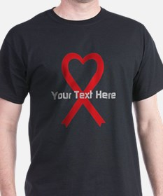 Personalized Red Ribbon Heart T-Shirt