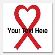 """Personalized Red Ribbon Square Car Magnet 3"""" x 3"""""""