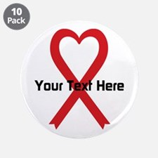 """Personalized Red Ribbon Hear 3.5"""" Button (10 pack)"""