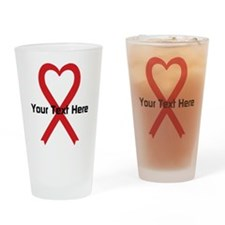 Personalized Red Ribbon Heart Drinking Glass