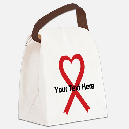 Personalized Red Ribbon Heart Canvas Lunch Bag