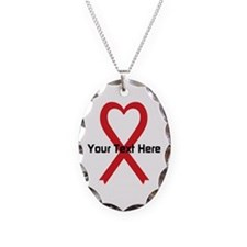 Personalized Red Ribbon Heart Necklace
