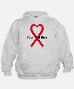 Personalized Red Ribbon Heart Hoodie