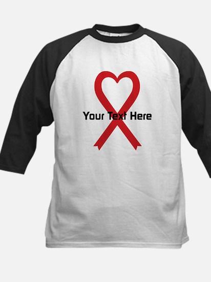 Personalized Red Ribbon Heart Kids Baseball Jersey