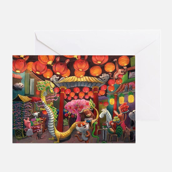 Animals of China Town Greeting Cards