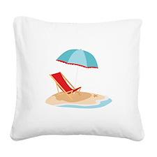 Sun Umbrella And Chair Square Canvas Pillow