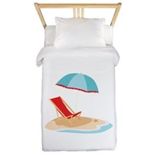 Sun Umbrella And Chair Twin Duvet