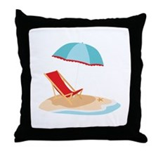 Sun Umbrella And Chair Throw Pillow