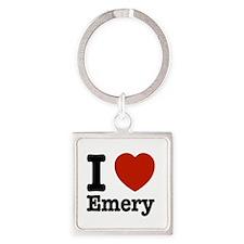 I love Emery Square Keychain
