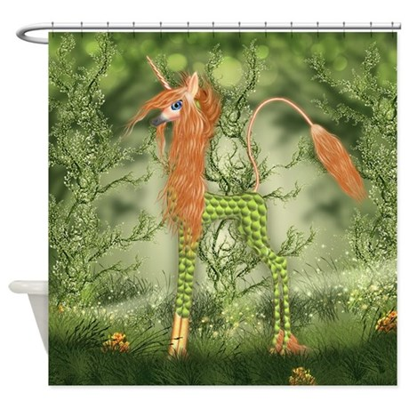 Kirin unicorn fantasy art shower curtain by moonlakedesigns for Fantasy shower curtains